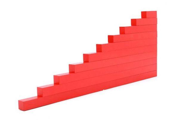 Barres rouges Montessori en Bois
