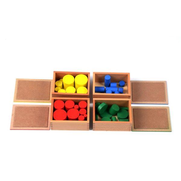 boite des 10 cylindres de 4 couleurs Montessori