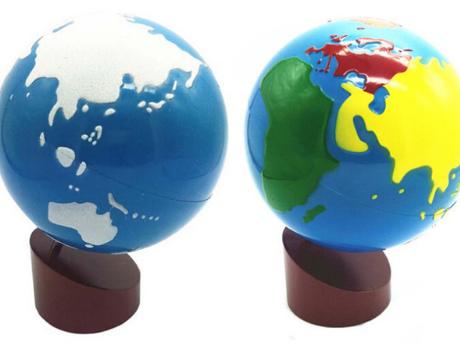 Farbiger Globus und glatter und rauer Globus