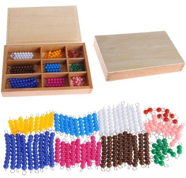 Boite de Perles et Barrettes Montessori (pour le Jeu du Serpent)
