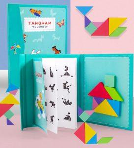 puzzle tangram en bois magnétique