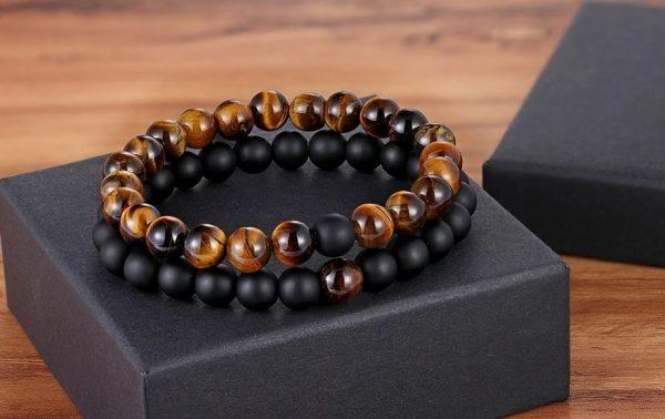 Bracelet en Onyx Noir et Howlite blanche