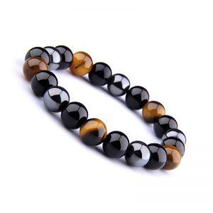 Bracelet en Obsidienne noire, Œil de tigre et Hématite
