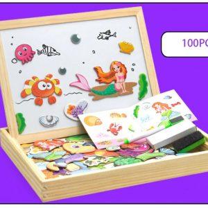 Boîte et Puzzles Créatifs Magnétiques avec Tableau et Ardoise