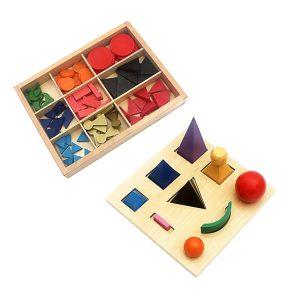 Les Solides en Bois et Symboles grammaticaux Montessori