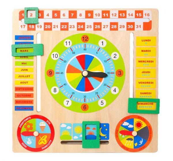 Horloge et calendrier en bois pour enfant